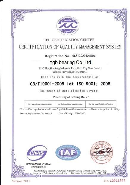 China YGB Bearing Co.,Ltd Certificaciones